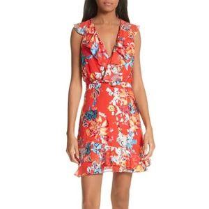 Saloni CeCe floral ruffle trim dress size 2